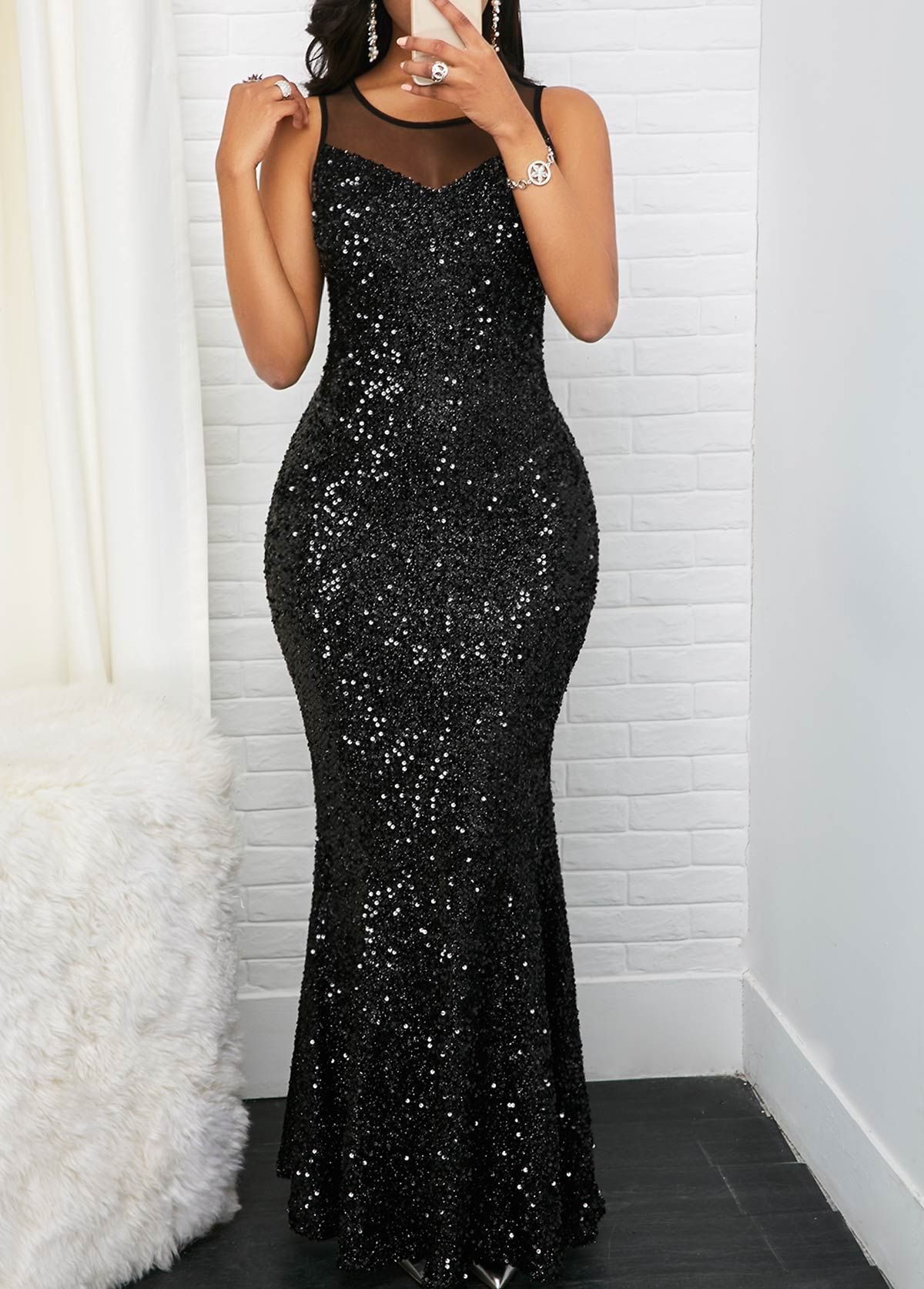 68fa3428eff Sleeveless Black Mesh Panel Sequin Maxi Dress