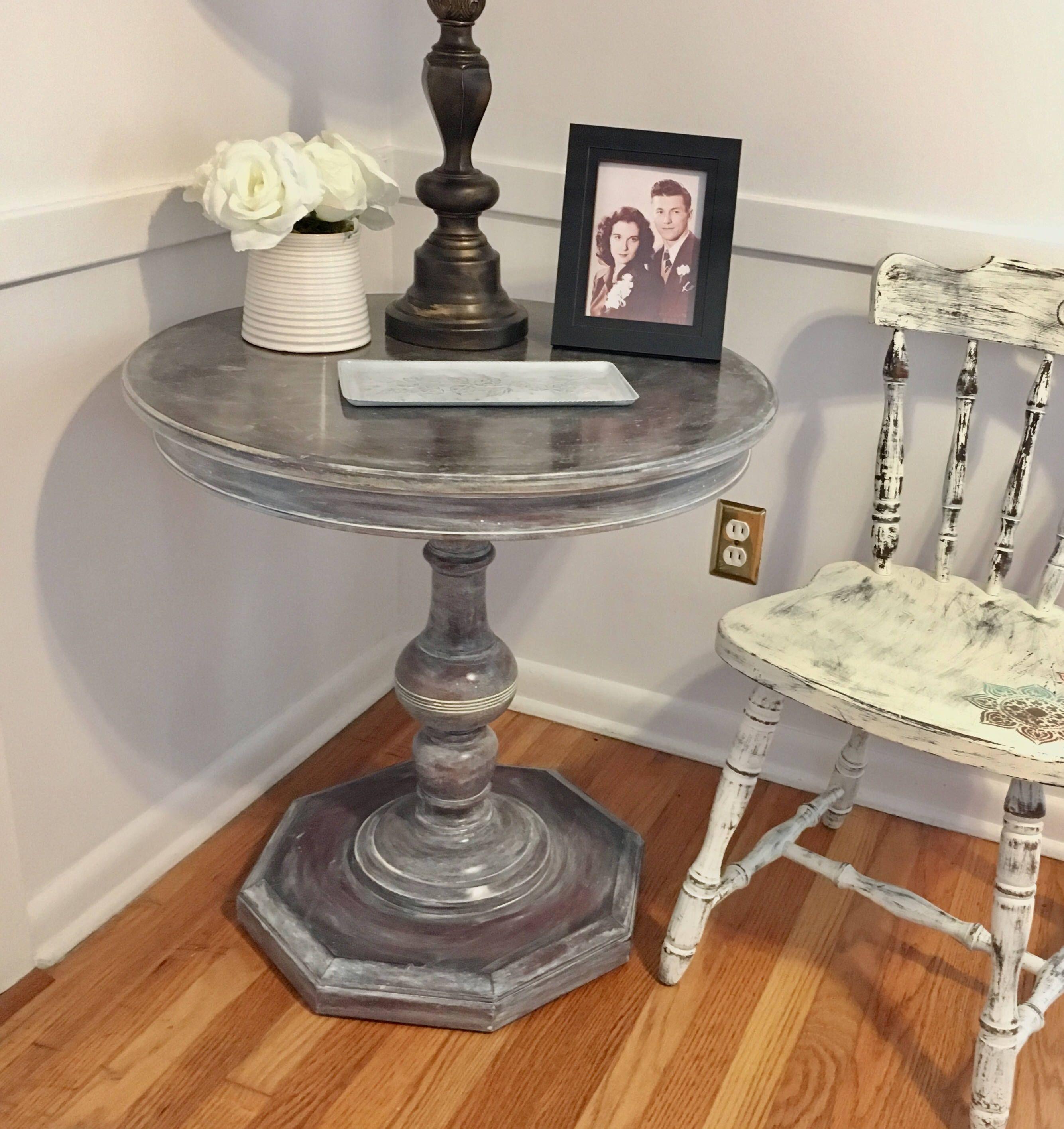 Farmhouse Pedestal Table, Side Table, Foyer Table, End