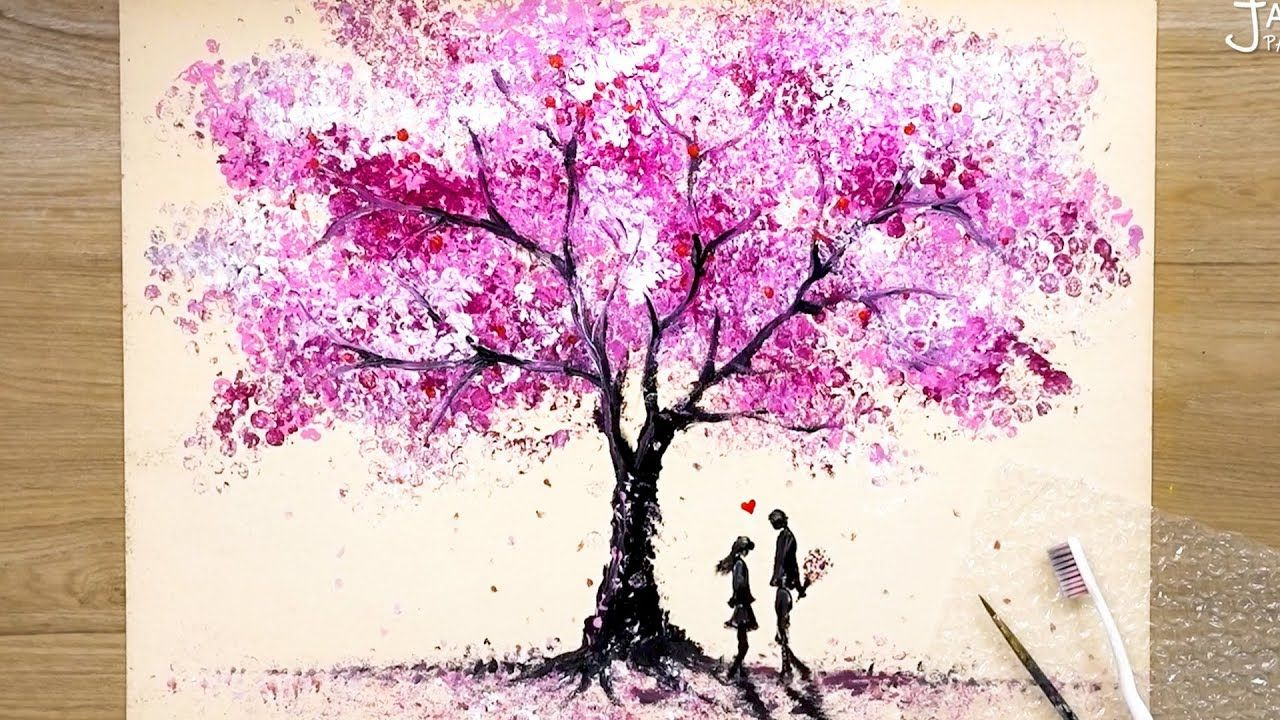 How To Draw Romantic Couple Beside A Cherry Tree Bubble Wrap Painting Techniques Cherry Blossom Painting Cherry Blossom Painting Acrylic Romantic Paintings