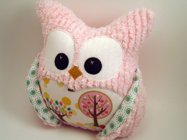 Plush Owl Pillow - Pink chenille - tree fabric. $16.16, via Etsy ...