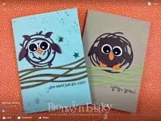 Swirly bird cards