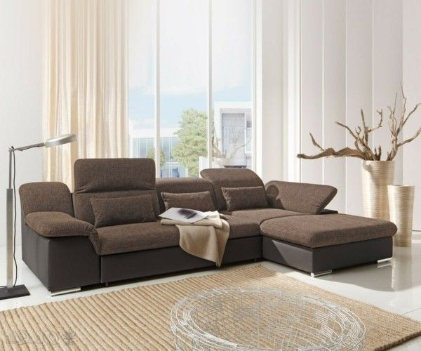 corner sofa krish 330x200cm brown couch with sleeping function ot - Brown Couch Living Room