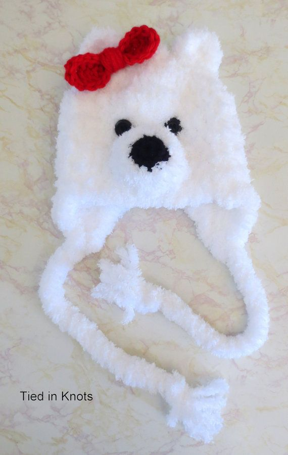 Polar Bear Hat - Crochet Polar Bear Hat - Fuzzy White Polar Bear Hat ...