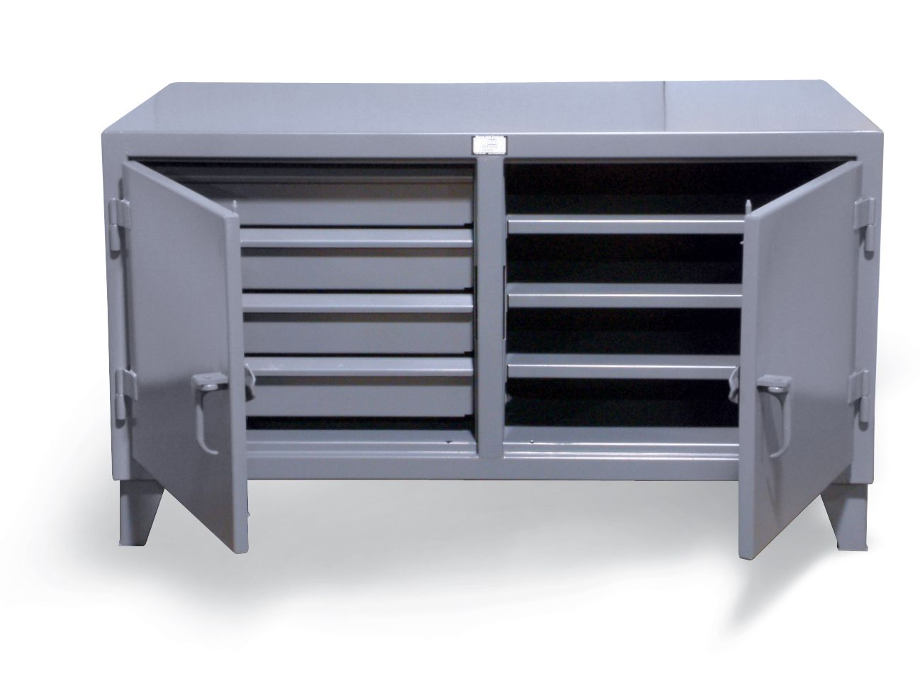Cabinet Workbench With Hidden Drawer Storage   Double Shift Cabinet  Workbench With 4 Drawers On Right And 3 Shelves On Left. Each Side Is  Lockable With A ...