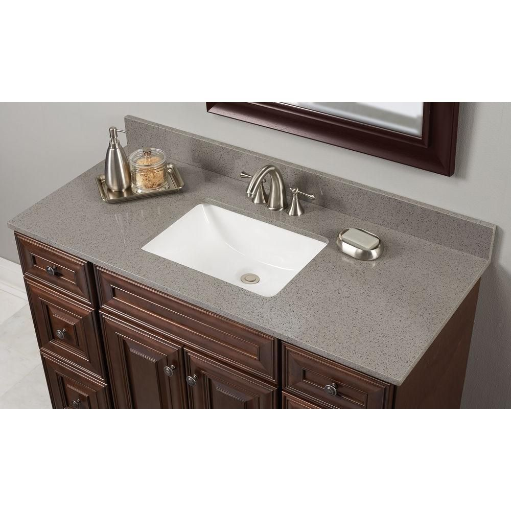 Home Decorators Collection 37 In W Quartz Single Vanity Top London Fog With White Basin Lonfog3722 2cm The Depot