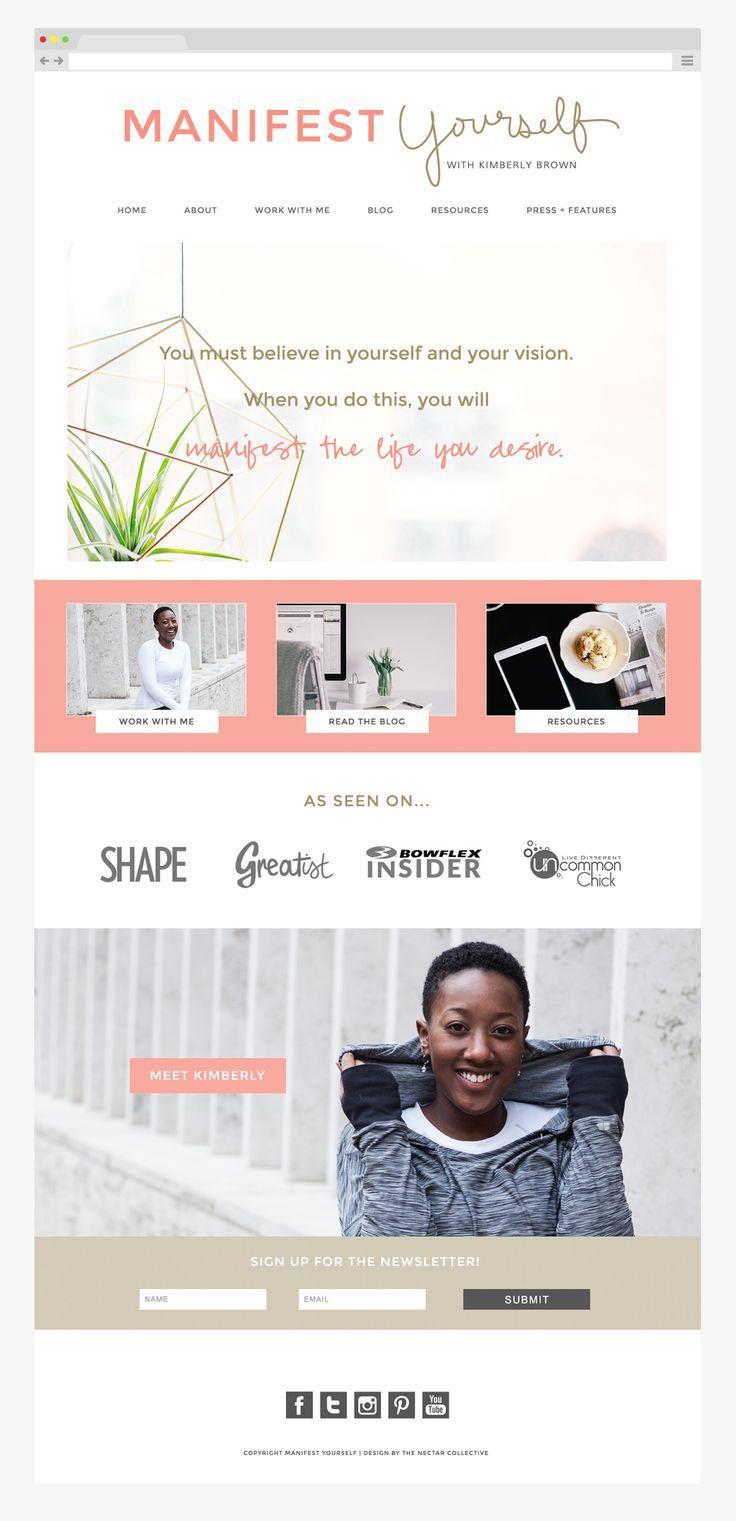 Manifest Yourself Blog And Website Design By The Nectar Collective Blogging Design Website Layout Inspiration Feminine Website Design Blog Design Inspiration