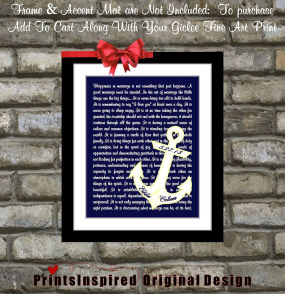 The Art Of Marriage Poem Anchor Wedding Gift Unique Newlywed Advice Engagement Anniversary
