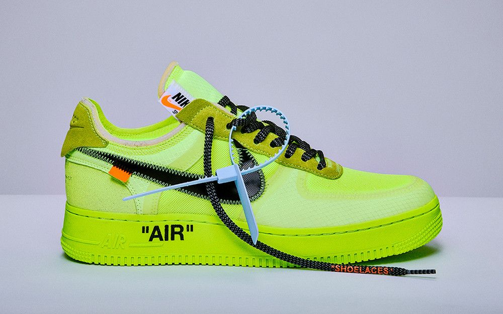 uk availability 1f9c6 34bb4 OFF-WHITE X NIKE AIR FORCE  BLACK  AND  VOLT