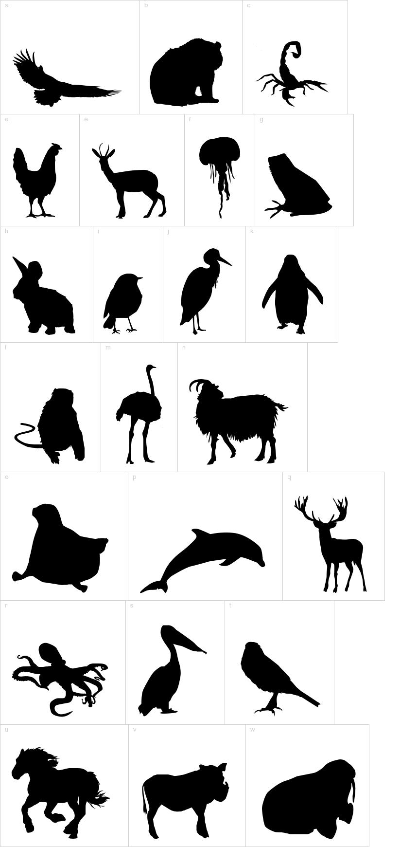 Great variety of animal silhouette dingbats - ocean dingbats {Le monde de Victor dingbat font | DingbatDepot.com}