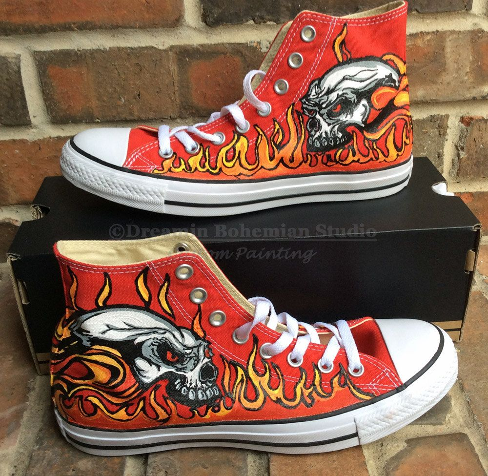 e28b0c86bab368 Flames and Skulls Hand Painted Red Converse Tennis Shoes