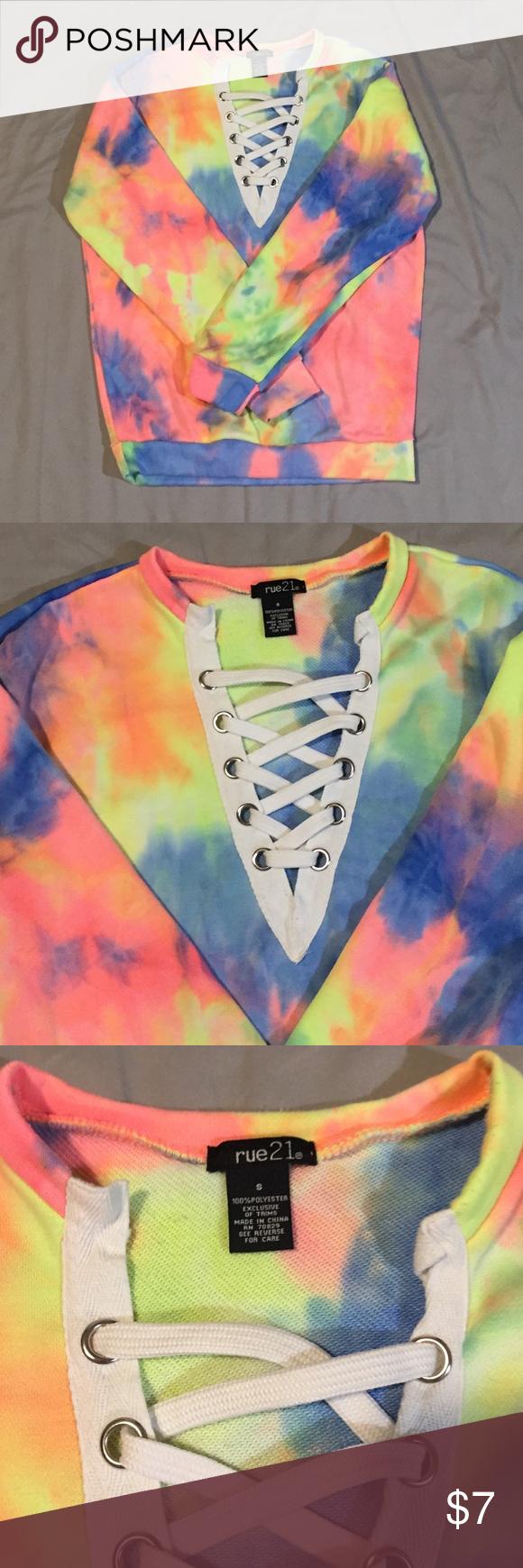 Lace Up Tie Dye Sweatshirt Sz S Rue 21 Lace Up Tie Dye Sweatshirt Rue21 Sweaters V Necks Tie Dye Sweatshirt Tie Dye Sweatshirts [ 1740 x 580 Pixel ]