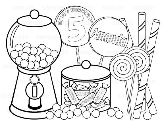 Incroyable Personalized Printable Sweet Shoppe Candy Birthday Party Favor Childrens  Kids Coloring Page Activity PDF Or JPEG File