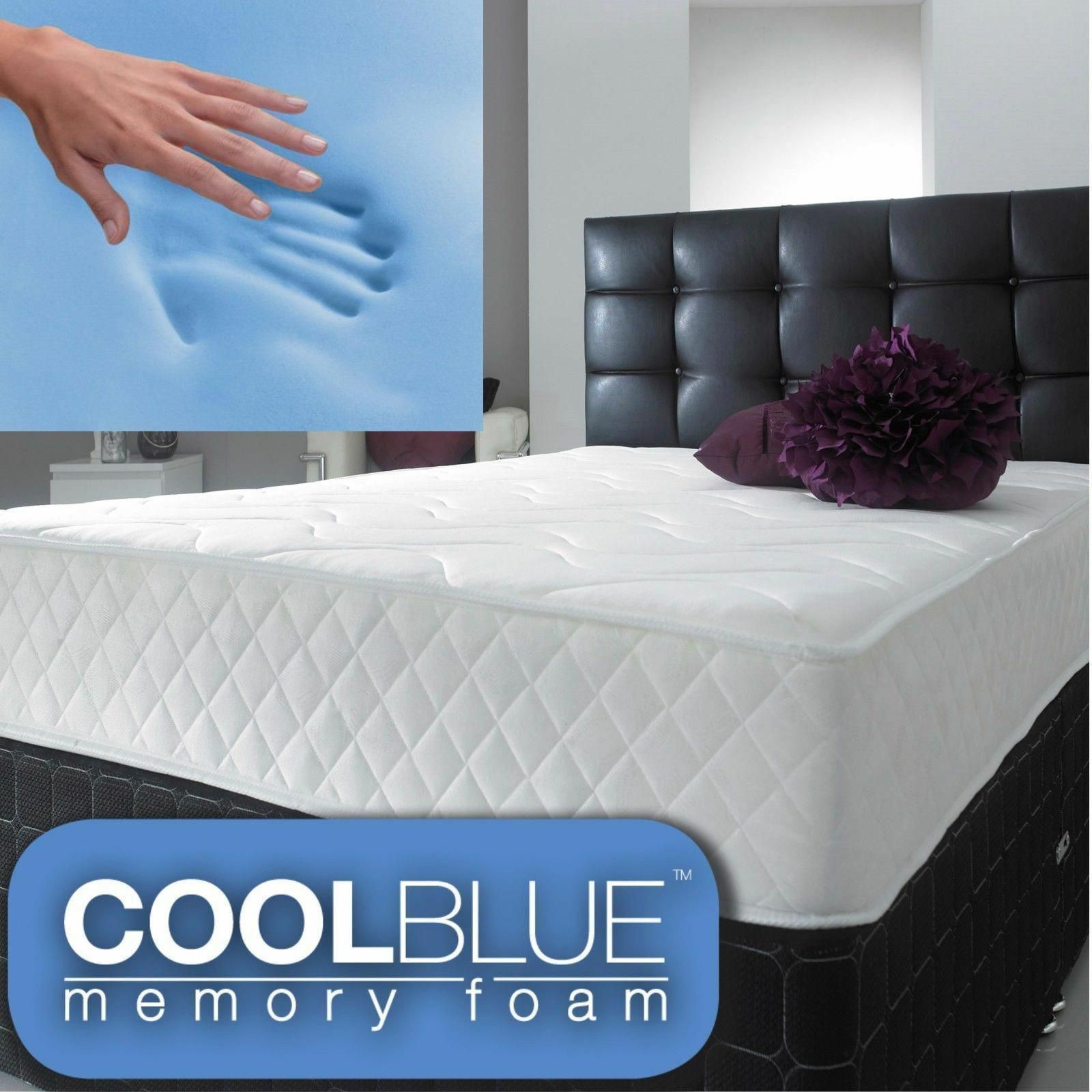 Cheap Cool Blue Open Coil Memory Foam Single Double King Size Rolled Mattress 59 95 Memoryfoammattressbest In 2020 Fabric Bed Frame Mattress Fabric Bed