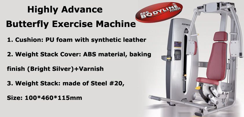 Heavy Duty Butterfly Machine Abs Material Gym Center