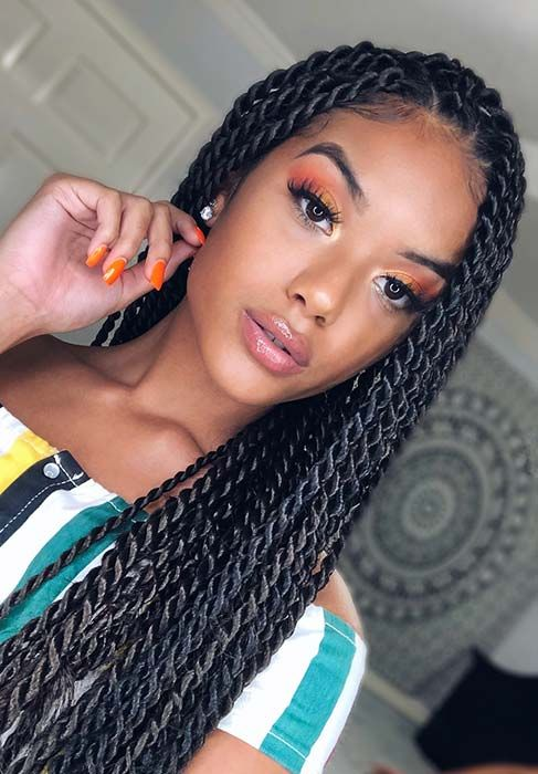 23 Eye-Catching Twist Braids Hairstyles for Black Hair #blackbraidedhairstyles