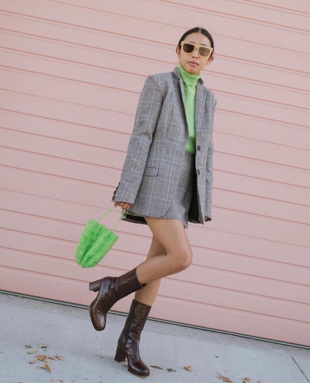 CARLOTA FOREST GREEN LEATHER BOOTS