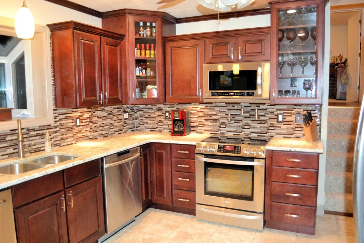 Kitchen, Awesome Design Ideas For Kitchen Backsplash With ... on Modern Kitchen Backsplash With Maple Cabinets  id=24322