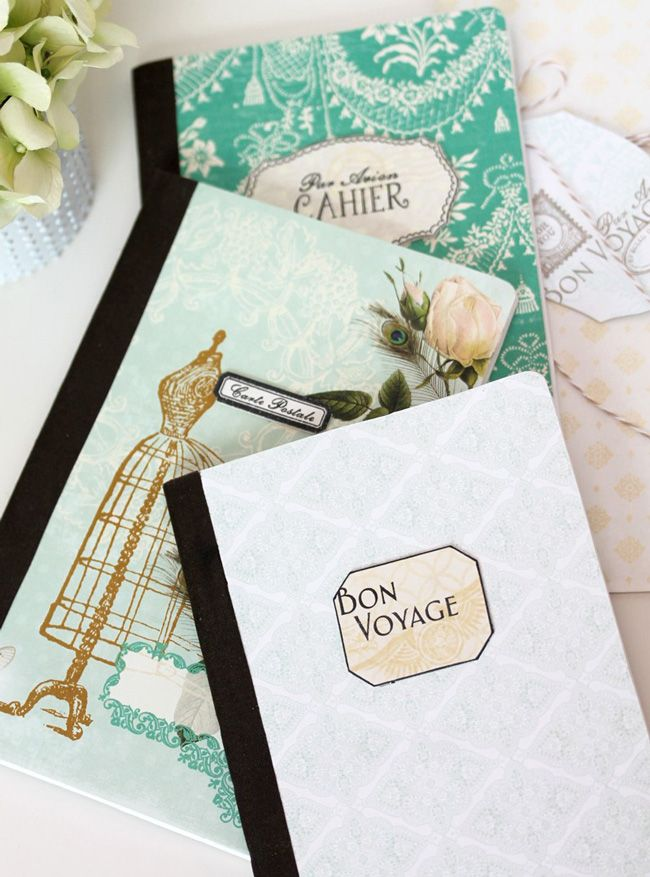 Inspired Composition Books with tutorial by Designer Amber Kemp Gerstel using Postcards From Paris II from Webster's Pages