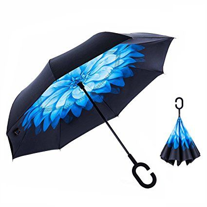 Home C Handle Black Reverse Folding Umbrella For Proof Windproof Rain Car Inverted Umbrella Double Layer Anti Uv Self Stand Parapluie