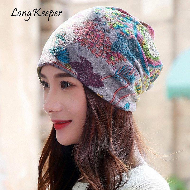 5e5e7013aba Long Keeper Women Brand Designer Winter Beanies Multi Purpose Ladies Warm  Hats   Scarf Skullies Vintage