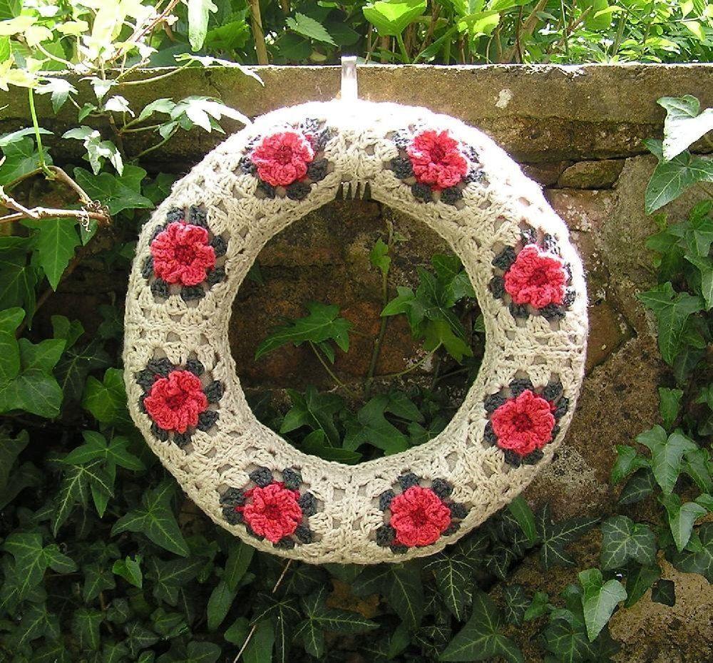 Photo of Rose granny square wreath Crochet pattern by HelgaTee | Knitting Patterns | LoveKnitting