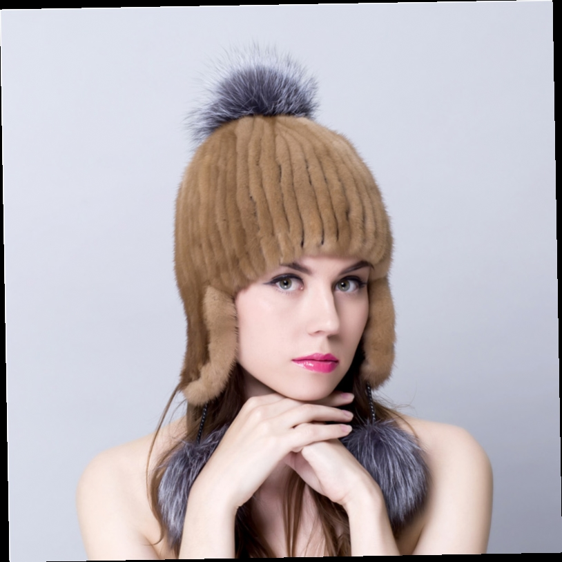 49.25$  Watch now - http://aliul3.worldwells.pw/go.php?t=32719114991 - real mink fur hats for winter russian female knitted hats casual adjust fur beanies cap thick female 2016 high quality hot sale