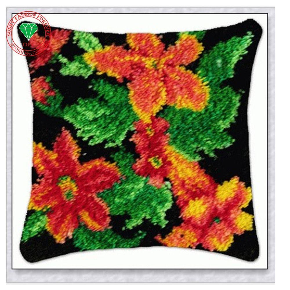Flower pillow diy rug kits brand carpet home pillow yarn carpet