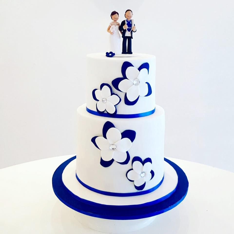 Wedding Cake Ideas Royal Blue: Cakes Come True Royal Blue And White 2-tier Wedding Cake