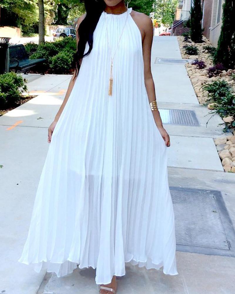 Sleeveless White Boho Maxi Dress