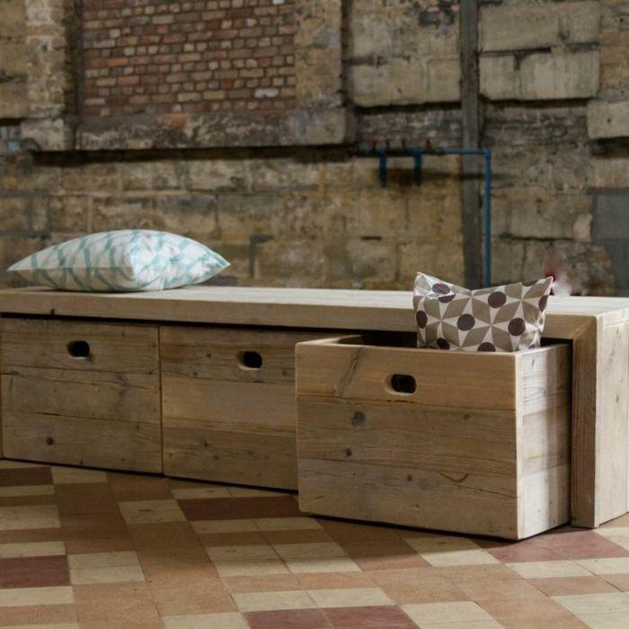 bois banc en bois avec rangement