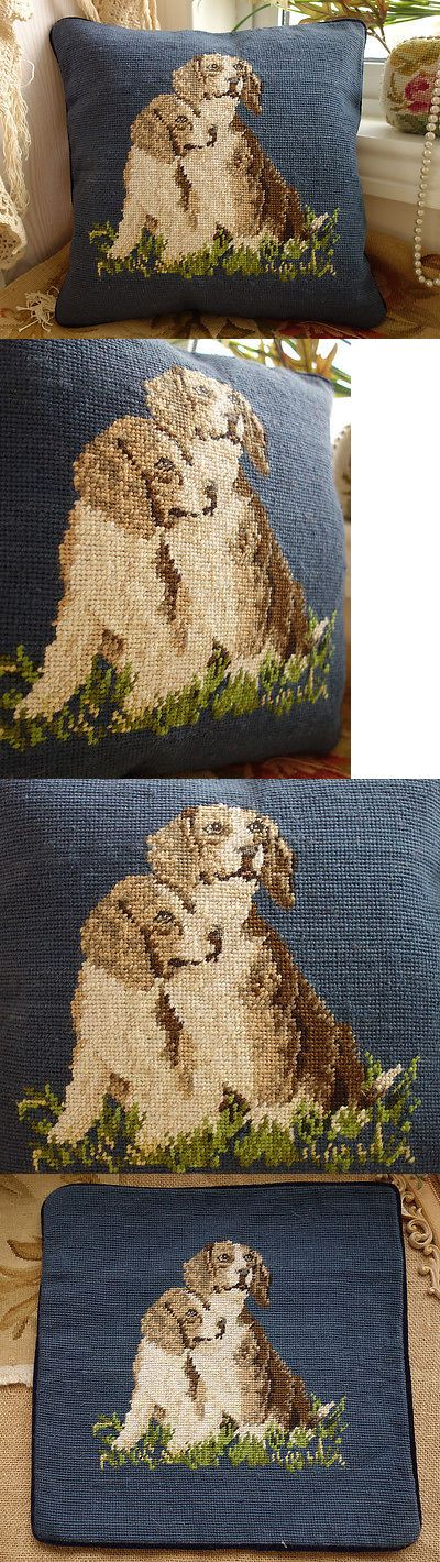 Pillows 83902: 14 Lovely Doggies Navy Blue Color Handmade Needlepoint Sofa Pillow Cushion -> BUY IT NOW ONLY: $44.99 on eBay!