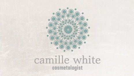 Teal mandala circle neutral ivory cosmetology spa business cards reheart Image collections