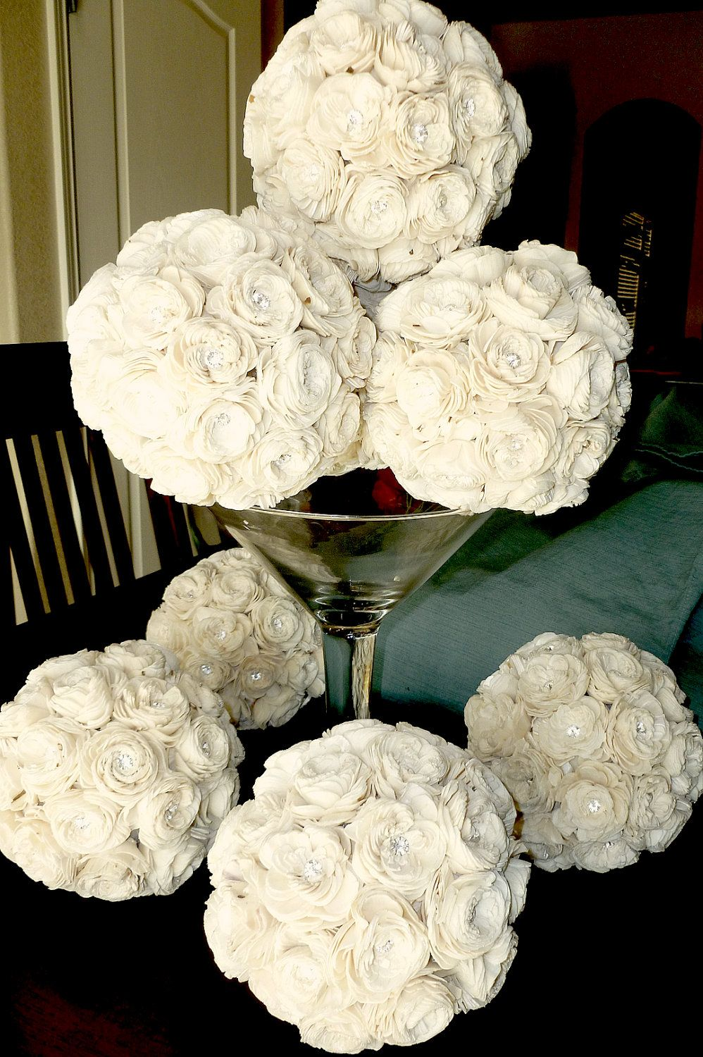 Two Flower Ball Centerpieces Medium- Made to Order, Kissing Ball ...