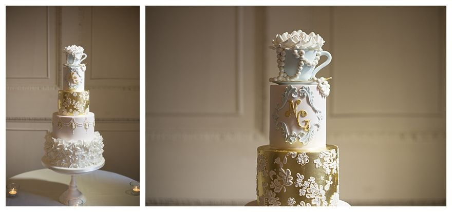 Cotton & Crumbs wedding cake from a Pretty Pastel Blue Winter Wedding with a Tea-Party Theme