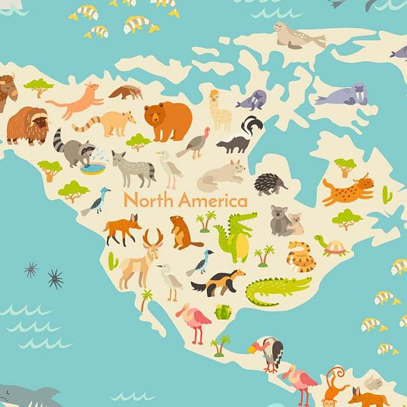 Animals world map wall decor background vector illustration drawn animals world map wall decor background vector illustration drawn digital file map wall decor gumiabroncs Gallery