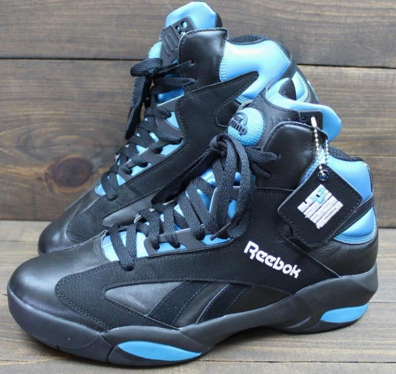 f1b9e6b4bf93 Reebok The Pump Shaq Men s Shaquille O Neal Gray Blue Black Shoes Sneakers  Sz 12