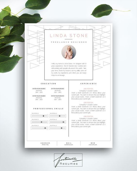 resume template 3 page    cv template   cover letter    instant download for ms word     u0026quot linda