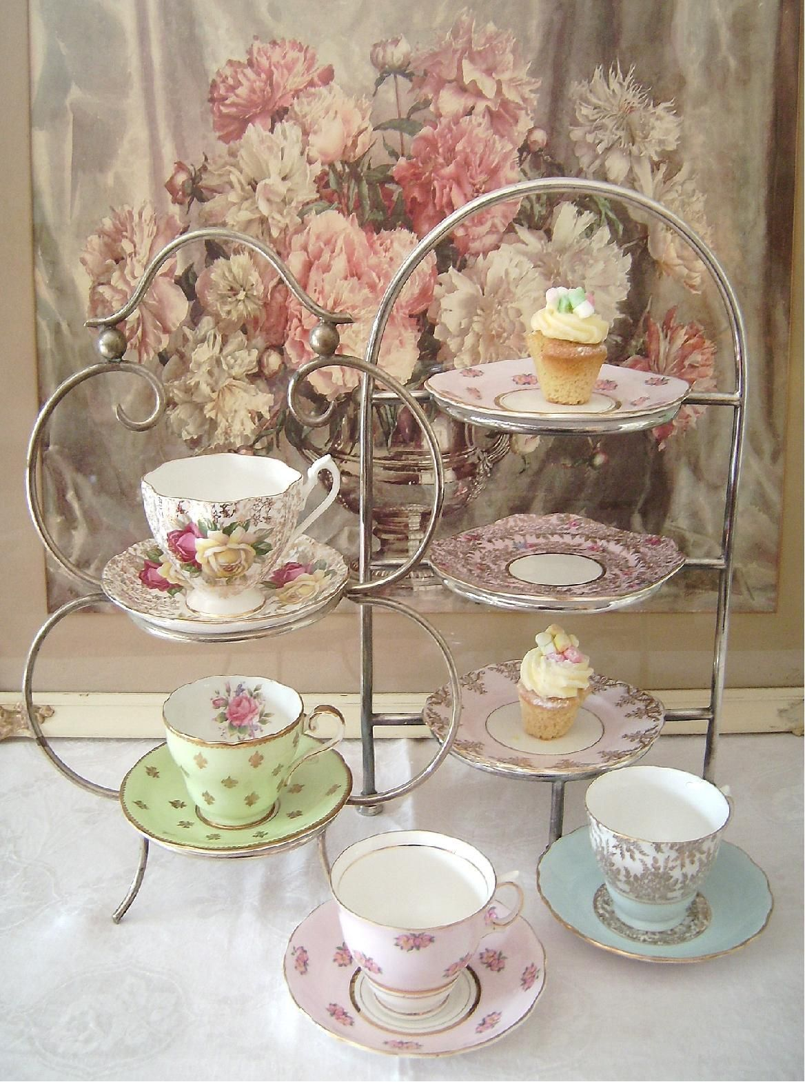 antique 1920s deco silver high tea stands with vintage plates great gatsby
