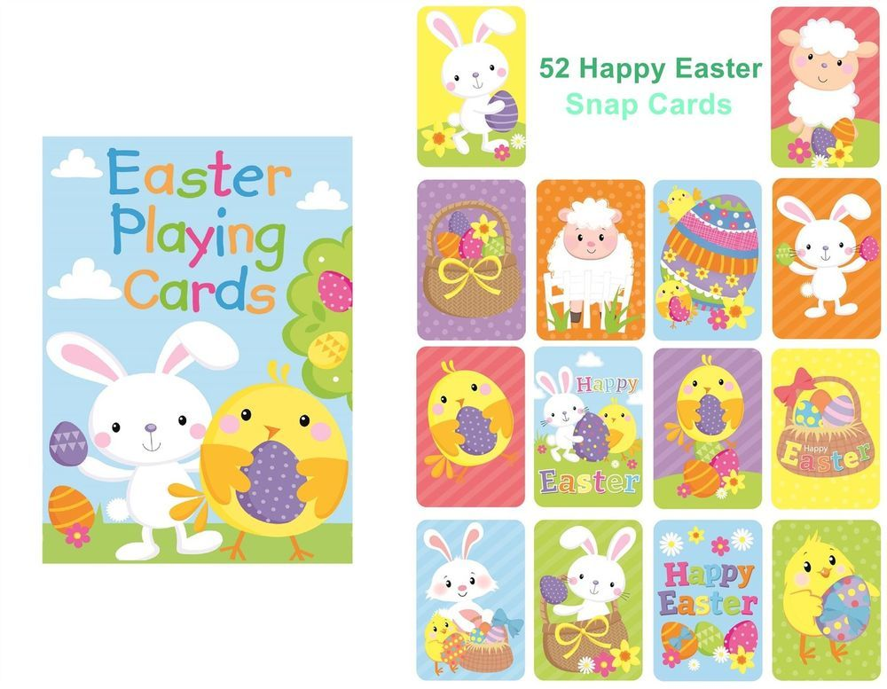 Details About Happy Easter Playing Cards Party Gift Bag Filler Snap Toy Children Family Game Party Gift Bags Party Card Snap Toys
