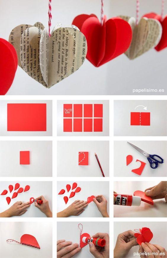 Faça você Mesmo Lindas Decorações com Corações de papel. #artesanato #papel #coração #corações #passoapasso #comofazer #aprender