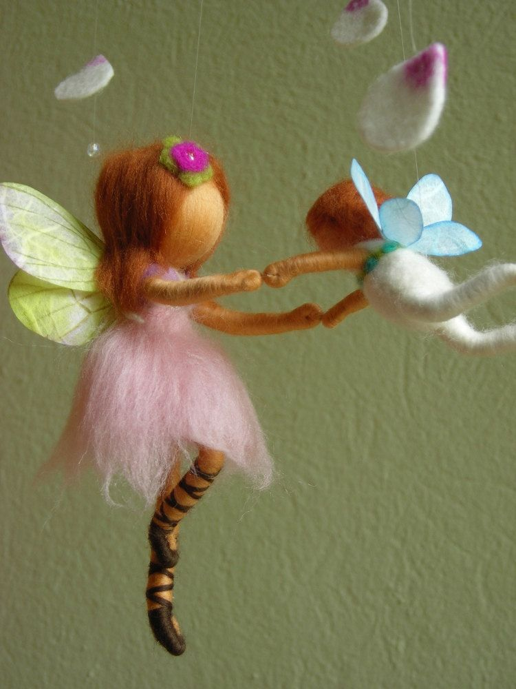 """Mobile """"A ballet scene with two fairies"""" - felted, waldorf inspired."""