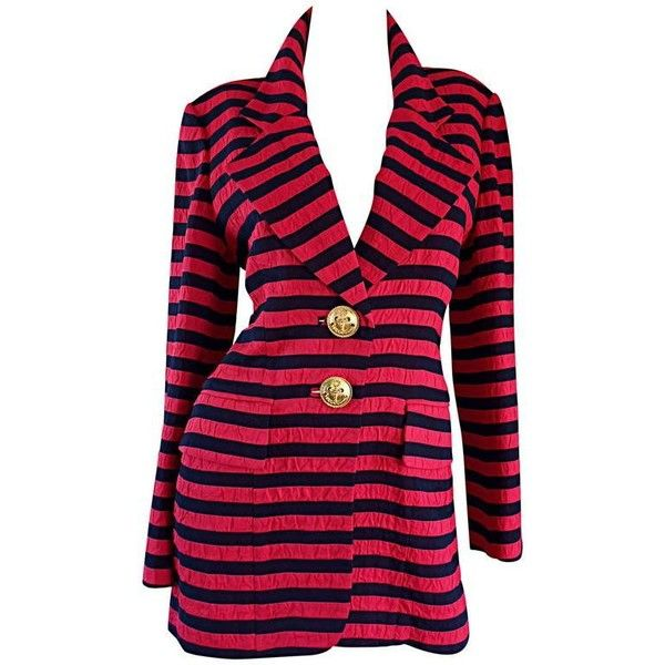 Preowned Vintage Christian Dior Couture Red + Navy Blue Striped... ($795) ❤ liked on Polyvore featuring outerwear, jackets, blazers, red, vintage blazer, red blazer, striped blazer, red striped blazer and red blazer jacket