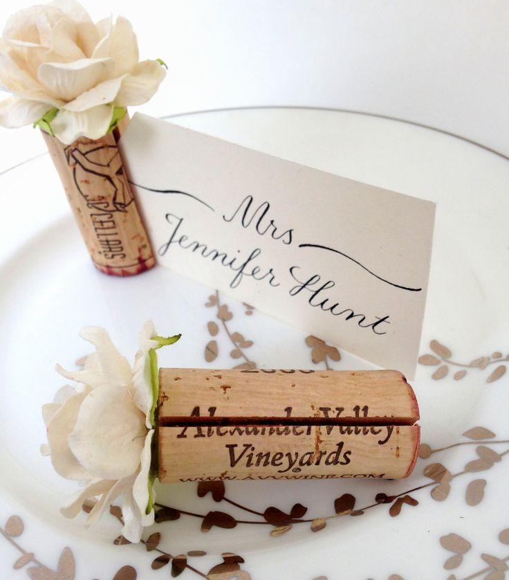 Blush Pink Wedding Place Card Holders Made Using Vintage Wine Corks Easy DIY