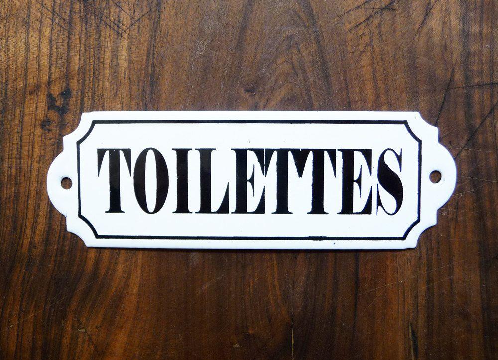 plaque maill e toilettes french vintage plaque de porte plaque ancienne identification de. Black Bedroom Furniture Sets. Home Design Ideas