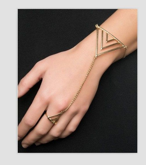 Triangle Bracelet Ring- Cool Harness Armor Geometric Connected Metal Slave Ring Bracelet Bangle, Adjustable Ring, Handchain hand Link chain