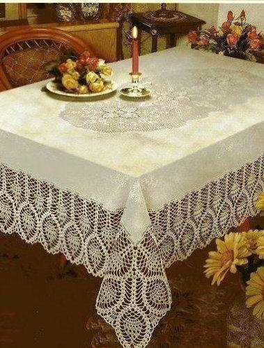 New Crochet Vinyl Lace Tablecloth 60 Wide X 108 Long Oblong Bone Beige Better Home Http Www Amazon Com Dp B0 Table Cloth Lace Tablecloth Vinyl Tablecloth