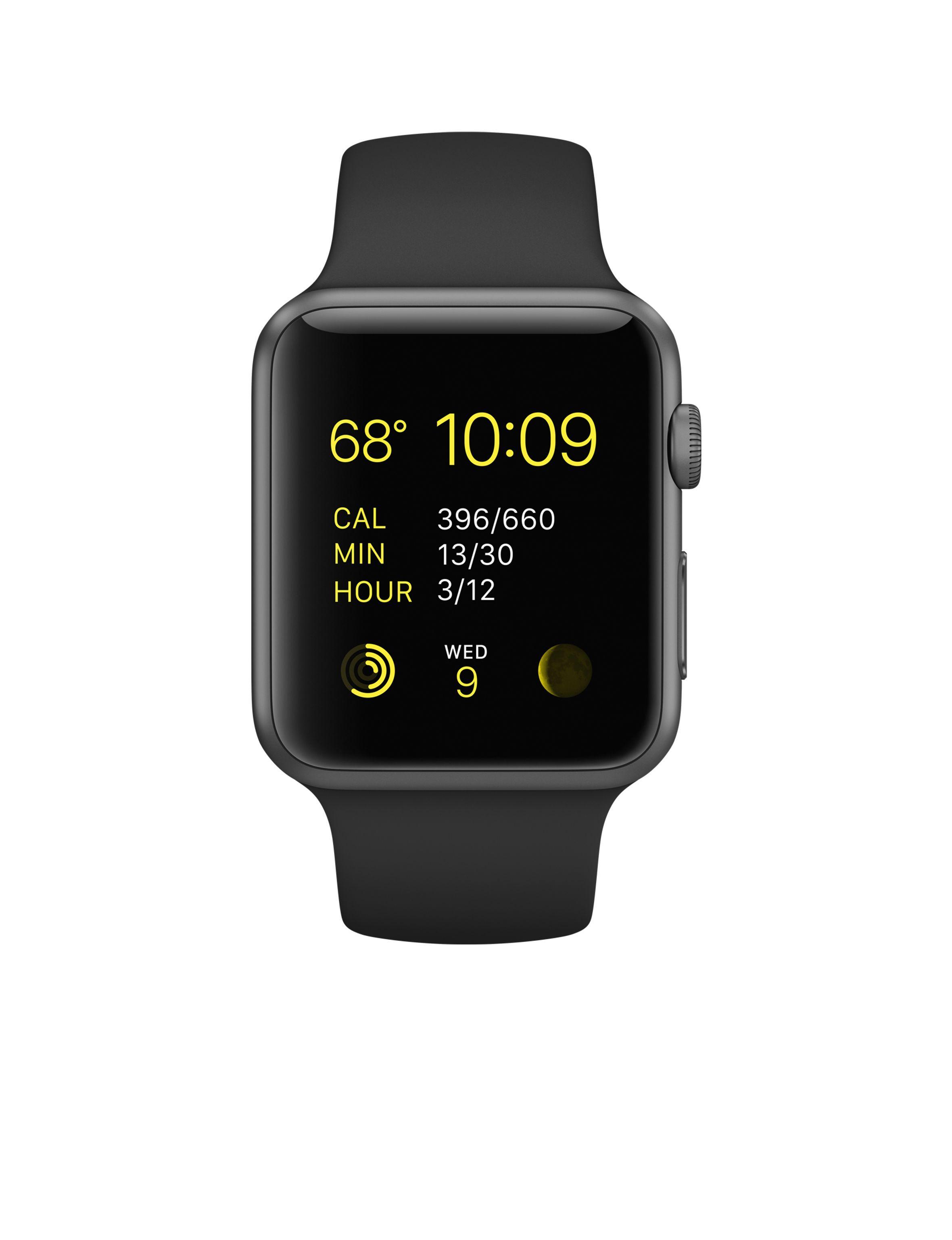 50059b9a43d Apple Watch Sport – Caixa de 42 mm cinza espacial de alumínio com pulseira  desportiva preto