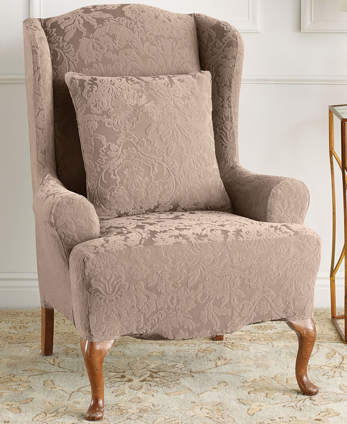 Sure Fit Stretch Jacquard Damask Wing Chair Slipcover Reviews Slipcovers Home Decor Macy S Slipcovers For Chairs Wingback Chair Slipcovers Slipcovers