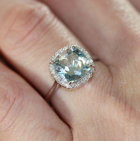 Aquamarine Ring Aquamarine Engagement Ring Aquamarine Wedding Ring Wedding Ring Sets