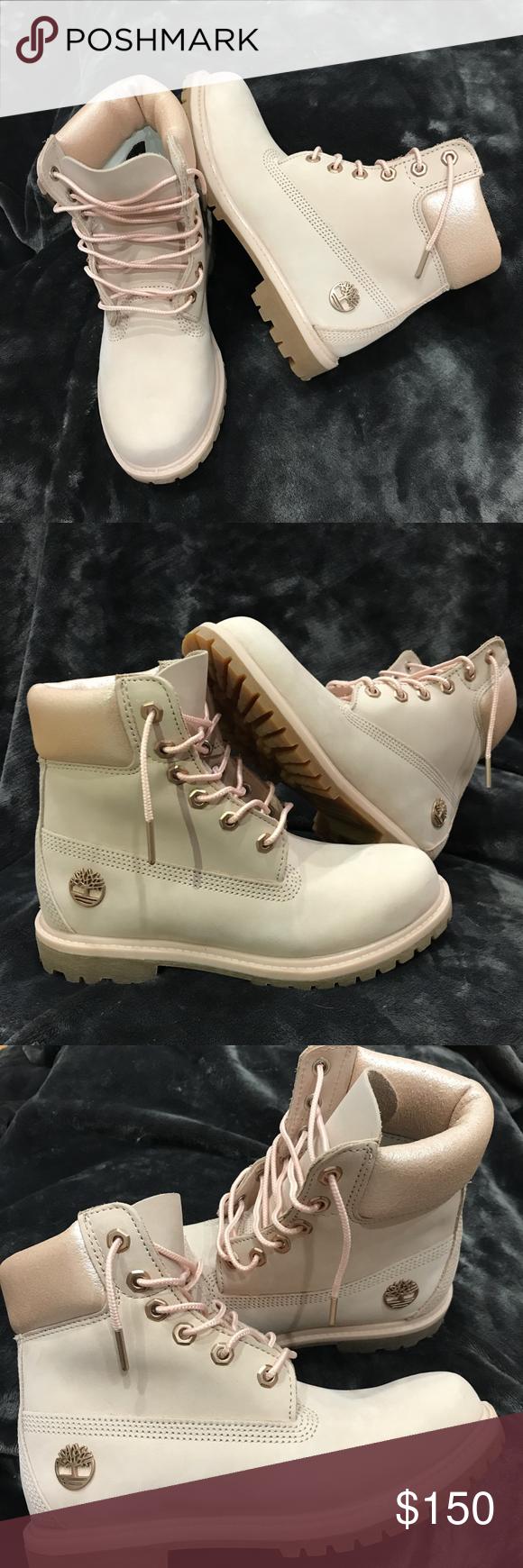 "Light Pink Nubuck Timberland 6"" Boots • style A1HL6662 • size women's 7 •  worn"